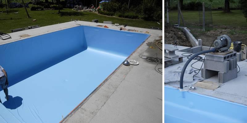 poser liner piscine beton